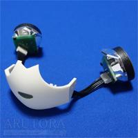 週刊ロビ(Robi)ブログ第65号、目に取り付けたケーブルを口のLEDボードへ接続して取り付ける